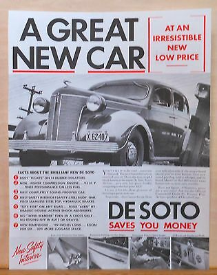 Vintage 1936 magazine ad for DeSoto - photos of The Brilliant New De Soto
