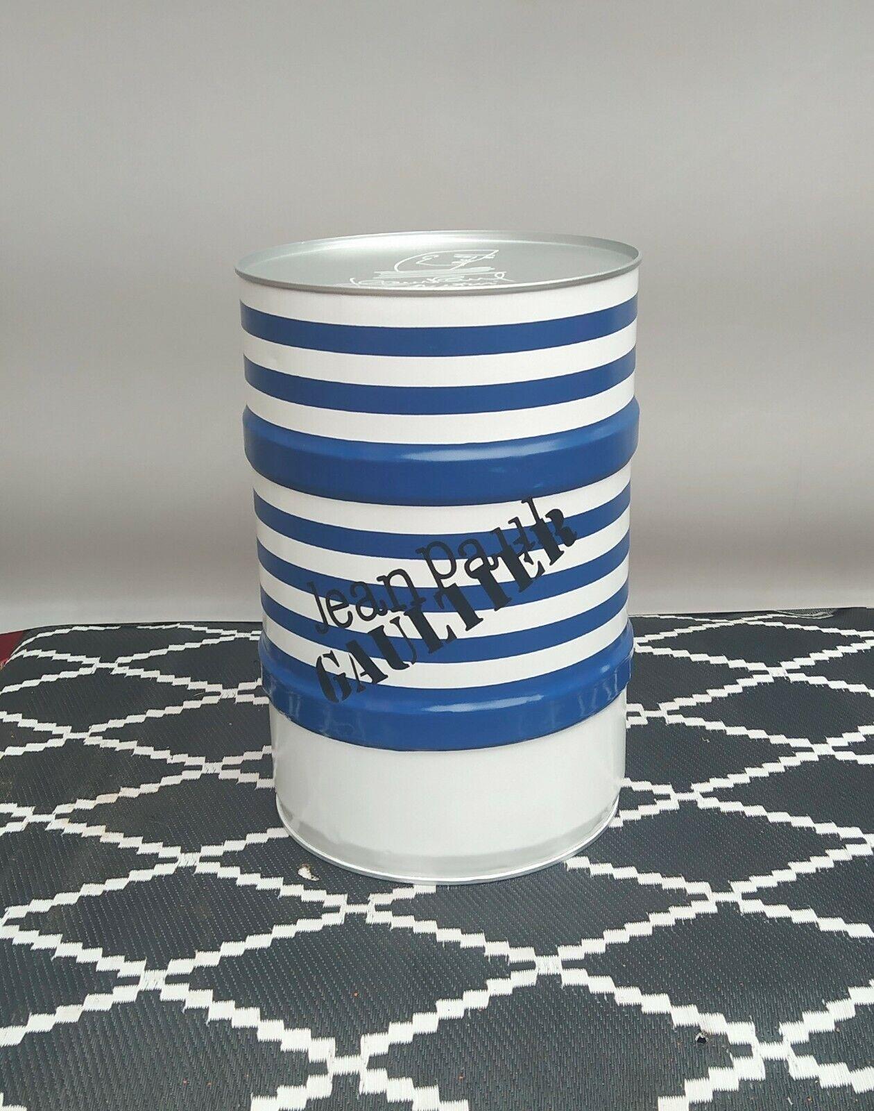 Tonneau baril fût de décoration marinière bleu & blanc