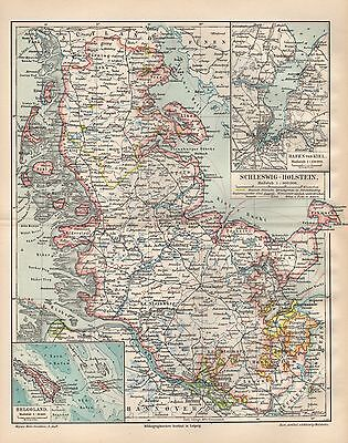 Schleswig - Holstein KIEL Helgoland  Lübeck Flensburg Husum Landkarte v.1897
