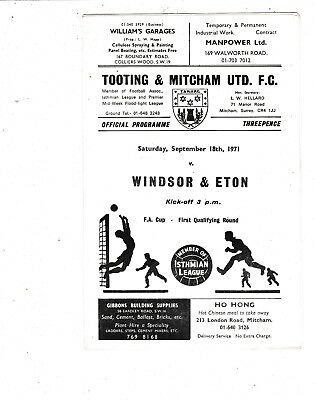 TOOTING & MITCHAM UNITED V WINDSOR & ETON FA CUP  18/9/71