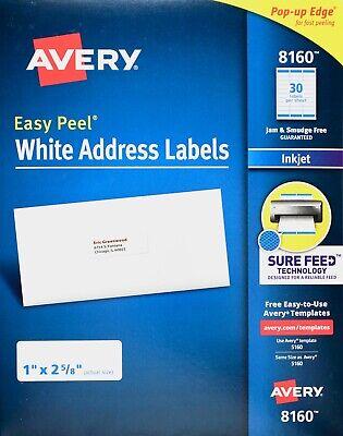 Avery 8160 White Address Labels Inkjet Easy Peel Pop-up Edge 1 X 2 58