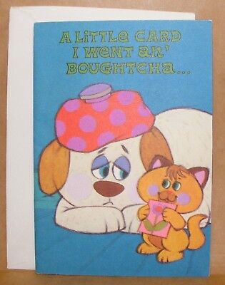 Vintage 1973 unused Get Well Soon dog with ice bag and cat greeting card & env. Get Well Bag