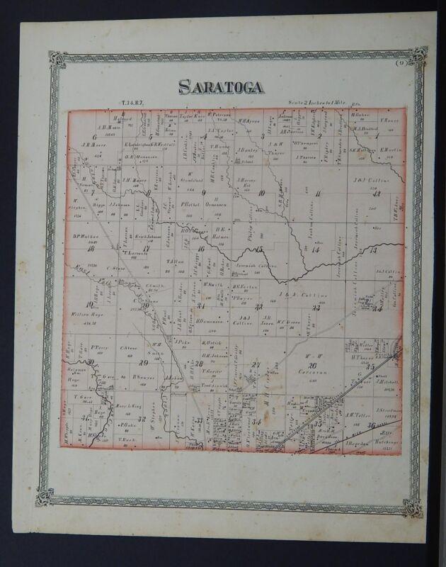 Illinois, Grundy County Maps, 1874 Township of Saratoga Q2#93