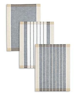 3-er Set Kracht Geschirrtücher, Halbleinen, Streifen, anthrazit, 50x70 cm