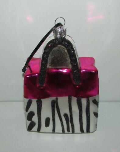 Blown Glass Pink Silver Black Animal Print Handbag Christmas Ornament Summit
