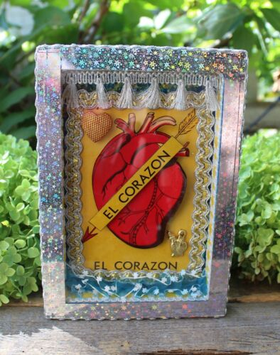 El Corazon - the Heart Wood Shadow Box Retablo Nicho Handmade Mexican Folk Art