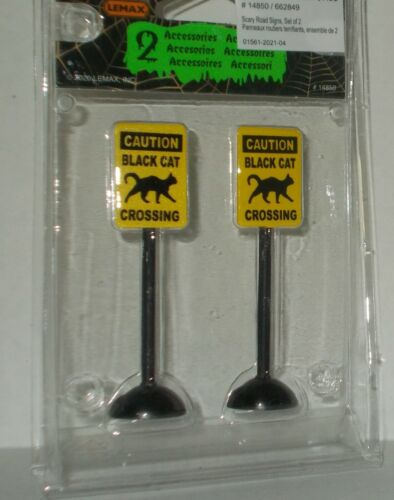 NEW LEMAX SPOOKY TOWN SCARY BLACK CAT CROSSING ROAD SIGNS SET OF 2 FREE SHIP