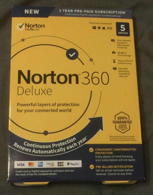 Norton 360 Deluxe 2020 5 Devices Antivirus Software VPN Cloud Digital DL 1 YR