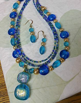Handmade Aqua Blue Dichroic Glass and Seed Bead Necklace & Earring Set