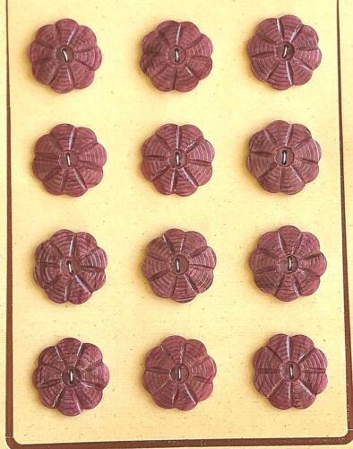 Vintage Buttons -  12 Deep Magenta Flower Casein Ridged 2 Hole Buttons - France