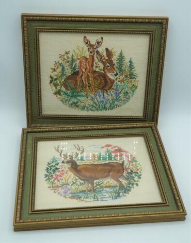 "Vintage Needlework Cross Stitch Deer Family 2 Framed 8"" by 10"""