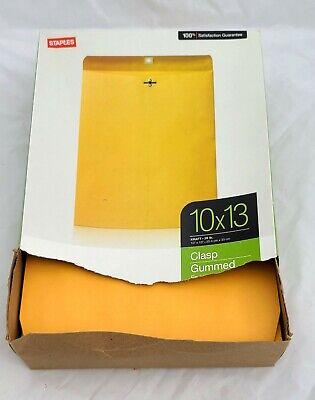 10x13 Kraft Manila Envelopes 28lb Clasp Gummed Closure 72 In Open Box