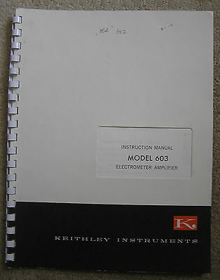 Keithley 1165r Instruction Manual Electrometer Amplifier Model 603