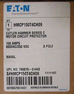 Eaton Cutler Hammer Hmcp150t4ch09 Motor Circuit Protector Hmcp150t4c Naval Type