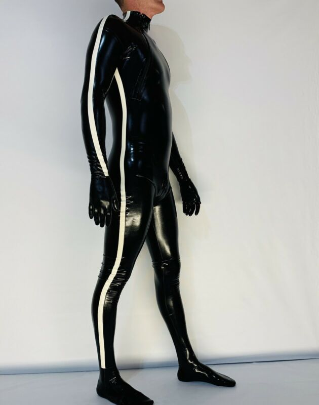 Catsuit Chest Zipper, Crotch Zipper Gloves, Feet 0.4 Mil 100% Latex Black/White