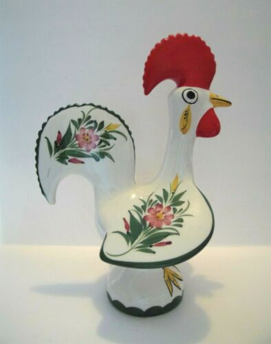 Rooster Good Luck Portugal Folk Art Ceramic Hand Painted 10.5""