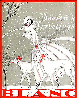 Art Nouveau Sighthound Season's Greetings Cards - Set of 4, with envelopes