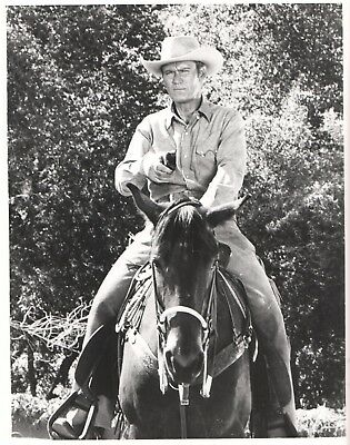 1960's Original Photo CHUCK CONNORS Western TV Star THE RIFLEMAN on a HORSE