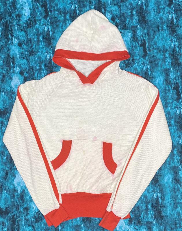 True Vintage Sweatshirt 60s 70s Waffle Print Thermal Cream W/ Red Stripe & Trim
