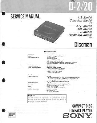 Sony Original Service Manual für  D-2 / 20