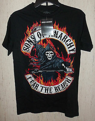 Nwt Mens Sons Of Anarchy  Fear The Reaper  Black Novelty T Shirt Size S
