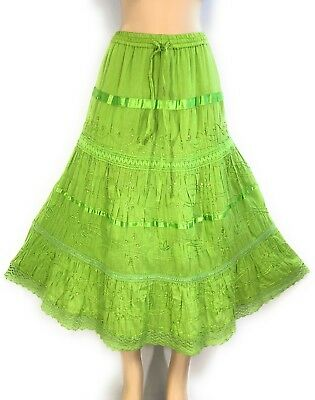 Ladies Cotton Boho Lace Trim Embroidered Sequins Tiered Peasant Sweep Skirt NWT. ()