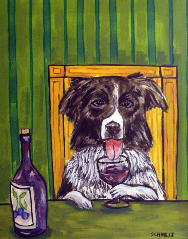 Border Collie at the wine bar  11 oz dog art Mug coffee
