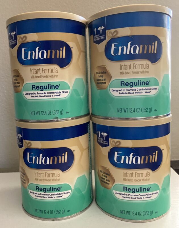 Lot of 4 Cans Enfamil Reguline 12.4 Oz exp. May 2022