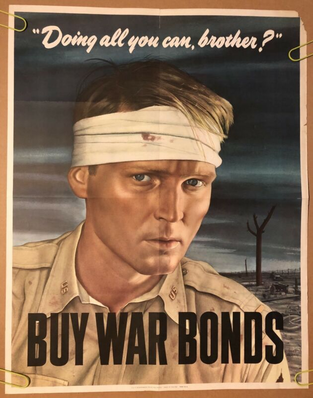 Doing All You Can Brother? Buy War Bonds Original War Vintage Poster Pin Up 1943