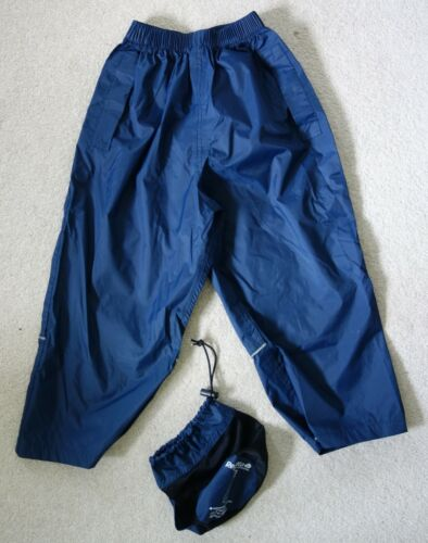 REGATTA childrens  blue waterproof trousers with handy bag age 3/4 years