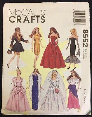 Vintage BARBIE DOLL CLOTHES Sewing Pattern Fashion Dolls Wardrobe McCalls 8552](Adult Barbie Doll Costume)