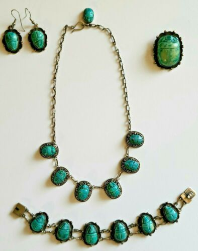 Vtg c1920 Egyptian Revival Sterling & Turquoise Faience Carved Scarab Jewelry