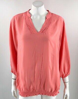 ana Top Plus Size 1X Peach Pink Split Neck Blouse Shirred 3/4 Sleeve Womens