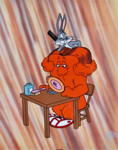 "Warner Bros BUGS BUNNY and GOSSAMER ""HARE DO"" 1994 Sericel Animation Art Cel"