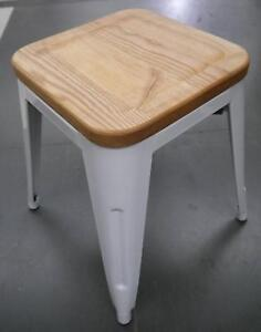 New Replica Tolix 18'' White Metal Ash Timber Tolix Stools Melbourne CBD Melbourne City Preview
