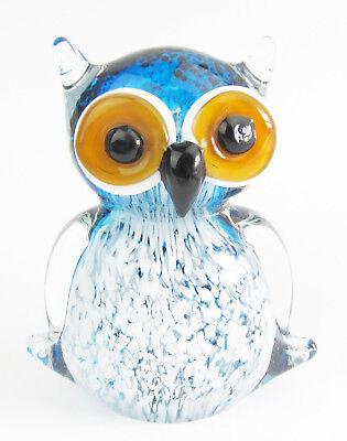 Glass Owl Sitting Figurine 12cm - Blue & White