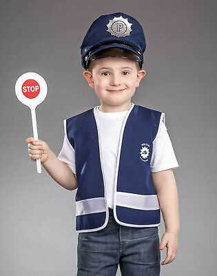 blaue Polizeiweste Gr. 116 Polizist Weste Kinder Kostüm Karneval - Polizei Polizist Kostüm