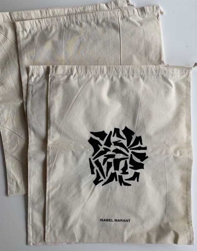 """New Authentic Isabel Marant 4 Cotton Shoe Dust Bags 12""""x14"""""""