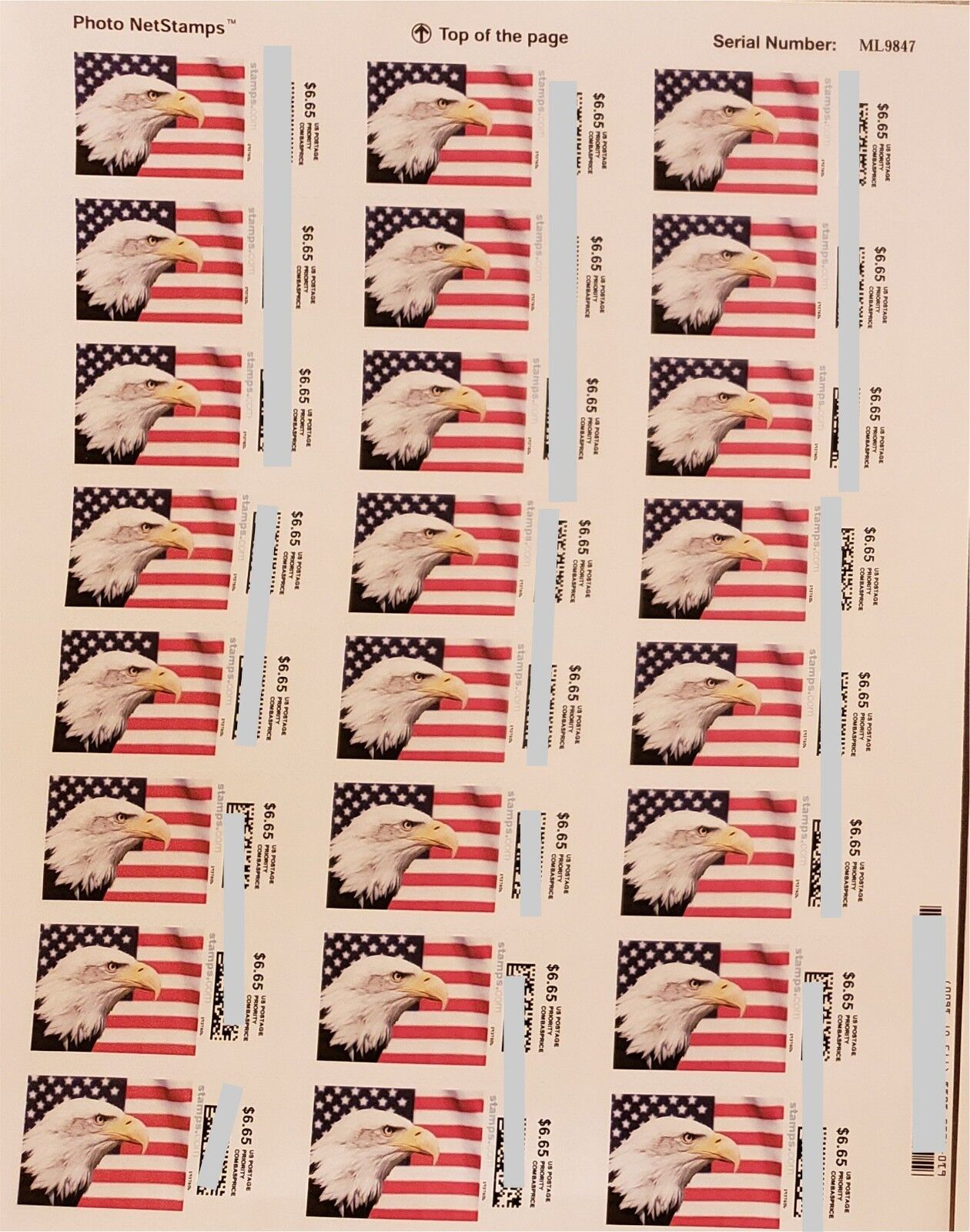 USPS Postage $6.65 Stamps, face value $159.60, 24 pieces