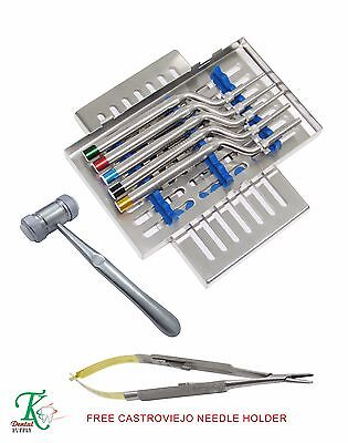 Dental Implantology Osteotomes Kit Concave Angled Mead Mallet Free Castroviejo