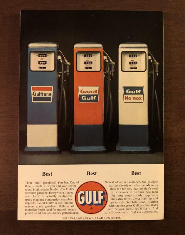 1963 Gulf gas pump 3 pumps photo vintage print ad