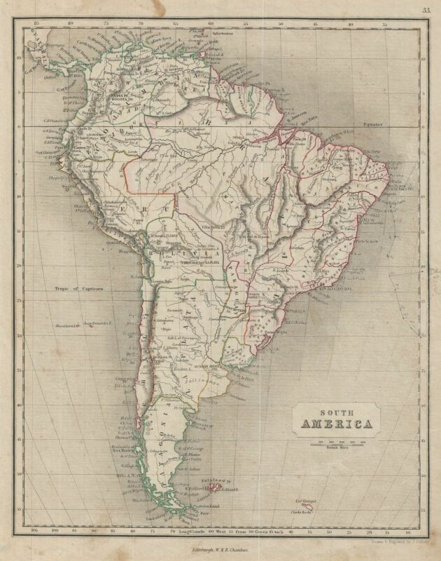 1845 Chambers Map of South America