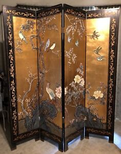 Chinese Gold Leaf Folding Screen Room Divider Melton Melton Area Preview