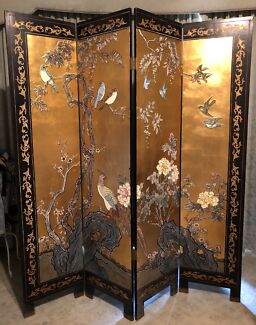 Chinese Gold Leaf Folding Screen Room Divider