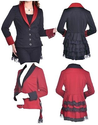 Circus Master Jacket (8-28 BLACK RED GOTHIC LACE LONG FISHTAIL RING MASTER PRINCE BUTLER CIRCUS)