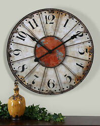 29 ANTIQUED IVORY RED ROUND LARGE NUMBERS WALL CLOCK VINTAGE RUSTIC STYLE