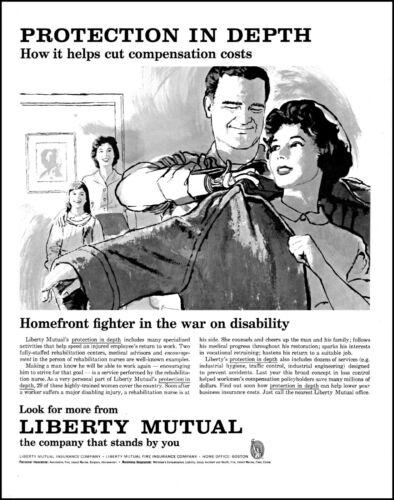 1961 Disabled War Vet nurse Liberty mutual insurance retro art print ad adL67