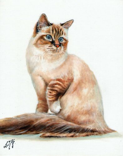 Original Oil Portrait Painting Art BIRMAN Artist Signed Artwork CAT KITTEN