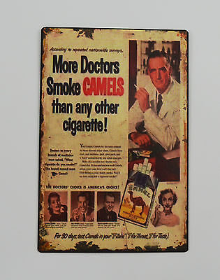 1950s Vintage Advertising Tin Plate Metal Signs - Camel Cigarettes/Tobacco