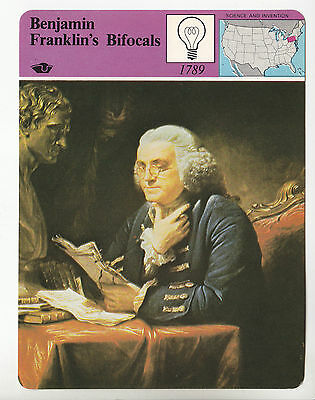 BENJAMIN FRANKLIN'S BIFOCALS Glasses Invention 1979 STORY OF AMERICA CARD